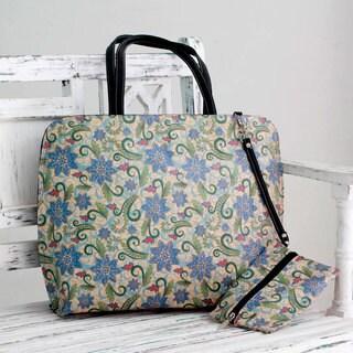 Embellished 'Blue Floral Song' Tote Handbag and Change Purse (India)