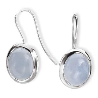 Avanti Sterling Silver Oval Bezel-set Chalcedony Earrings