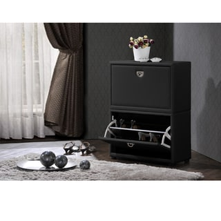 Petito Contemporary 2-Tier Black Leather Upholstered Shoe Cabinet