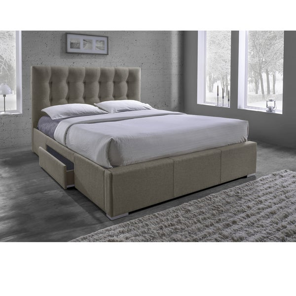 Sarter Contemporary Grid-Tufted Brown Fabric Upholstered Storage Bed with 2-drawer