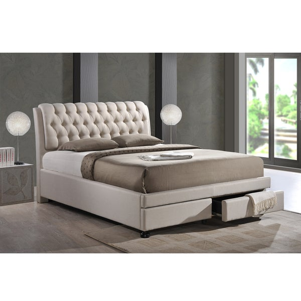 Ainge Contemporary Button-Tufted Light Beige Fabric Upholstered Storage Bed with 2-drawer