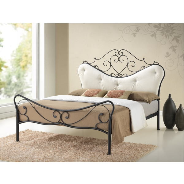 Baxton Studio Princess Shabby Chic Metal Platform Bed with Beige Tufted Headboard