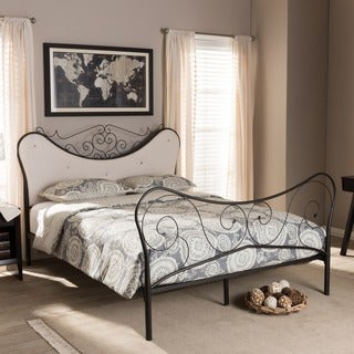 Baxton Studio Alanna Shabby Chic Queen-size Metal Platform Bed with Beige Tufted Headboard