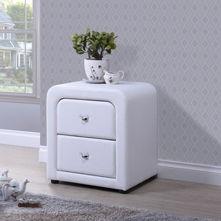 Refseth Contemporary White PU Leather Upholstered 2-Drawer Nightstand