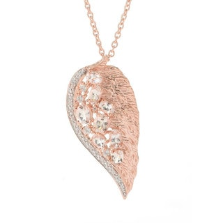 Sterling Silver Gemstone and White Zircon Angel Wing Necklace