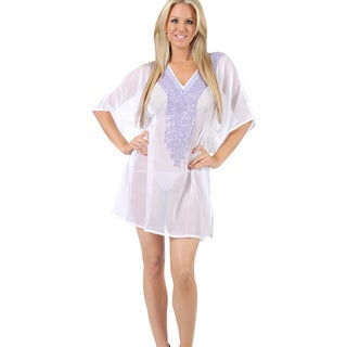 La Leela White Sheer Chiffon Beach Swim Cover-up