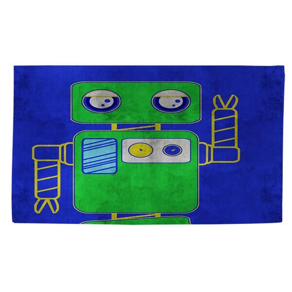 Thumbprintz Neon Party Blue Robot - Rug (4'x 6')