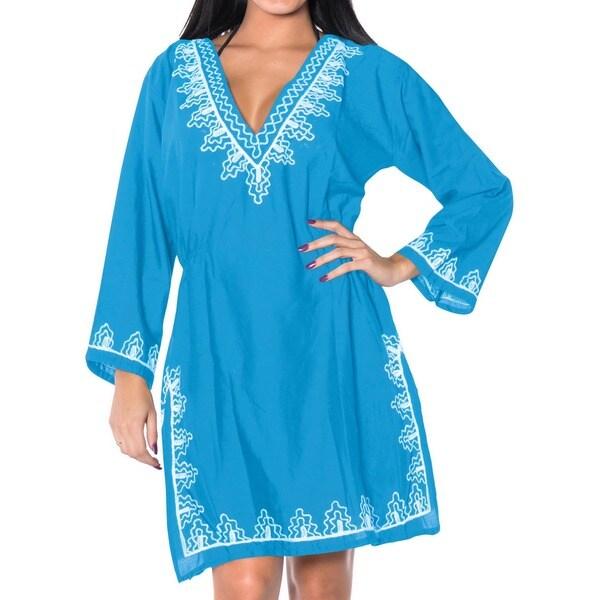 La Leela Blue Embroidered Viscose Swim Beach Cover up Tunic