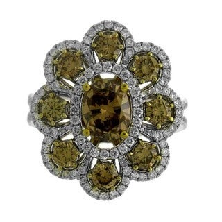 18k Two-tone Gold 1 7/8ct TDW Brown Diamond Floral Ring (G-H, SI1-SI2)
