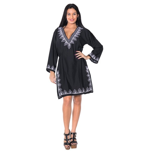 La Leela Black Embroidered Viscose Beach Cover-up Tunic