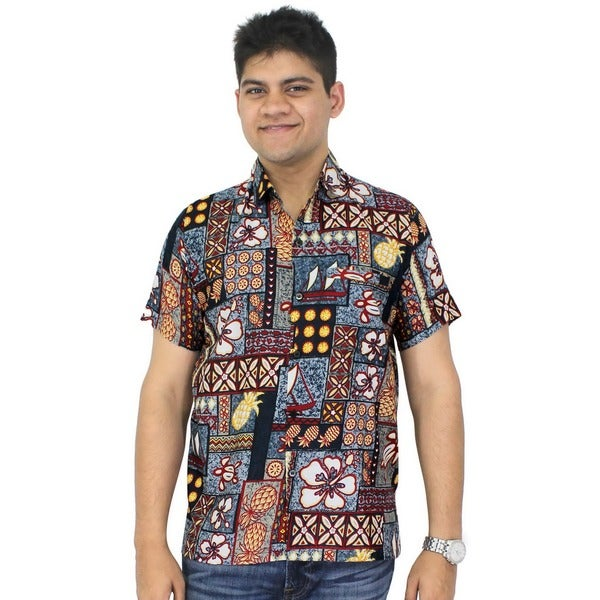 La Leela Men's Likre Grey Tropical Printed Beach Shirt