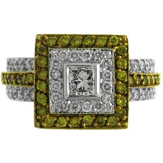 18k Two-tone Gold 1 1/3ct TDW Yellow and White Diamond Square Fashion Ring (G-H, SI1-SI2)