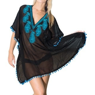La Leela Women's Black/ Blue Sheer Chiffon Paisley Sequin V-neck Beach Cover-up