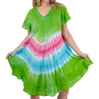 La Leela RAYON PLUS Size Cover up Tank HAND Tie Dye Short Beach Dress Green