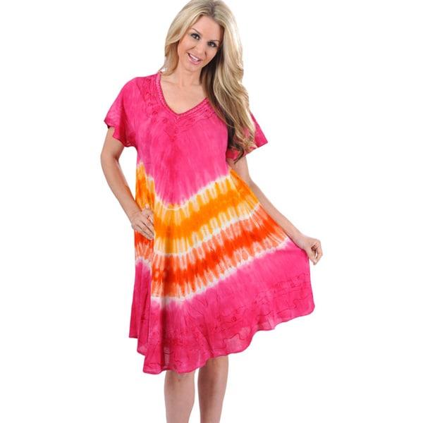La Leela Viscose Pink Tie-dye Print Dress
