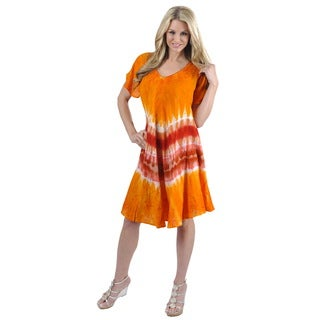 La Leela Women's Plus Viscose Multicolor Tie-dye Orange Dress