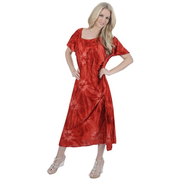 La Leela Women's Plus Red Viscose Mono Tie Dye Design Printed Dress