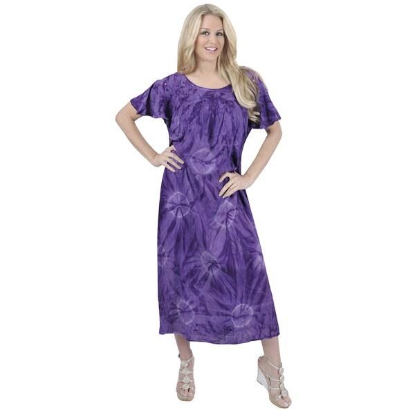La Leela Women's Plus Purple Viscose Mono Tie Dye Design Printed Dress
