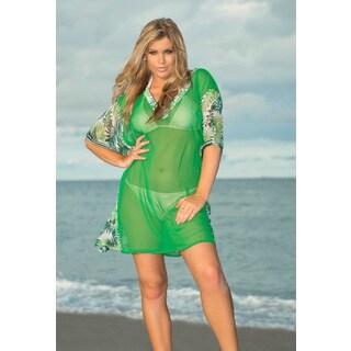 La Leela Women's Plus Sheer Chiffon V-Neck Leaf Print Green Swim Cover-up Tunic