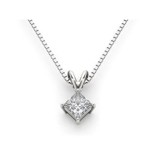 De Couer 14k White Gold Princess-cut Diamond Solitaire Necklace (H-I, I2)