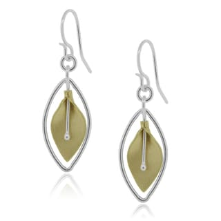 Journee Collection Sterling Silver Goldfill Botanical Dangle Earrings