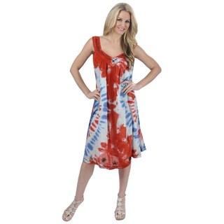 La Leela Women's Viscose Red Multicolored Tie-dye Print Cover-up