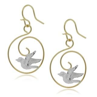 Journee Collection Sterling Silver Goldfill Bird Dangle Earrings