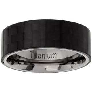Vance Co. Men's Titanium Carbon Fiber Pipecut Ring (8 mm)