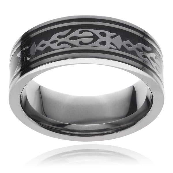 Vance Co. Men's Titanium Stainless Steel Tribal Design Black Carbon Fiber Ring (8 mm)