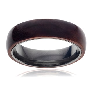 Vance Co. Men's Titanium Domed Wood Inlay Ring (6 mm)