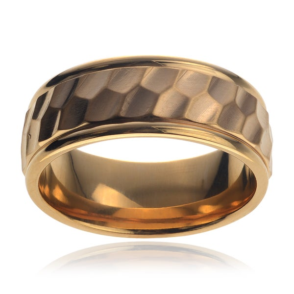 Vance Co. Men's Titanium Yellow Gold Hexagon Design Brushed Center Ring (8 mm)