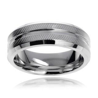 Vance Co. Men's Cobalt Textured Beveled Edge Ring