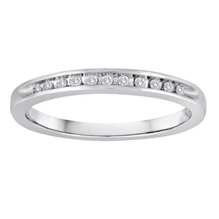 Platinaire 1/10ct TDW Diamond Wedding Band (I-J, I2-I3)