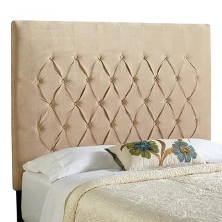 Humble + Haute Hampton Velvet Sand Tall Full Diamond Tufted Upholstered Headboard