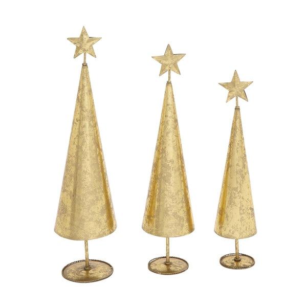 Glittering Set of 3 Metal Xmas Tree