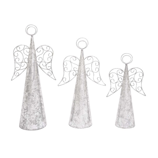 Silver Sparkly Set of 3 Christmas Angels