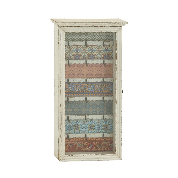 Vintage Styled Wood Glass Key Cabinet