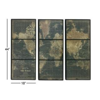 World Map Wood Glass Wall Panel Set of 3