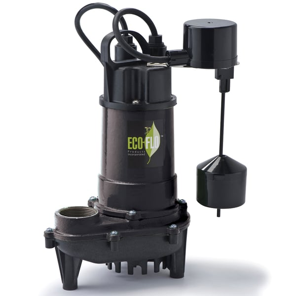 Eco-Flo ECD50V 0.5 HP Cast Iron Submersible Sump Pump with Verticle Switch (4400 GPH)