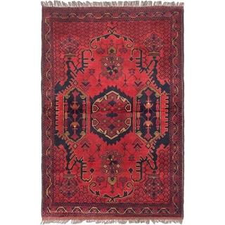 Ecarpetgallery Finest Khal Mohammadi Dark Red Red Wool Medallion Rug (3'3 x 4'9)