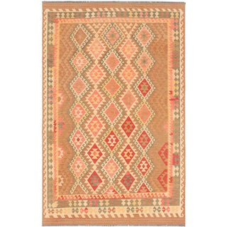 Ecarpetgallery Anatolian Kilim Brown Light Gold Wool Geometric Kilim (6'5 x 10'1)