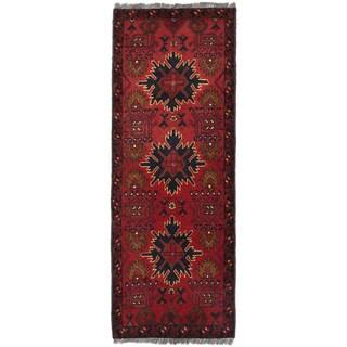 Ecarpetgallery Finest Khal Mohammadi Dark Copper Wool Geometric Rug (1'9 x 4'11)