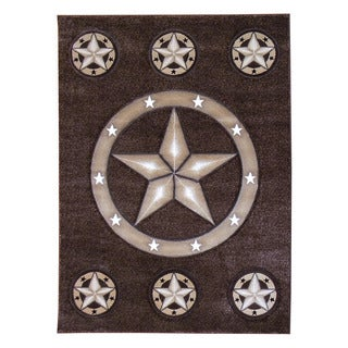 Texas Lone Star Brown Area Rug (5'x7')