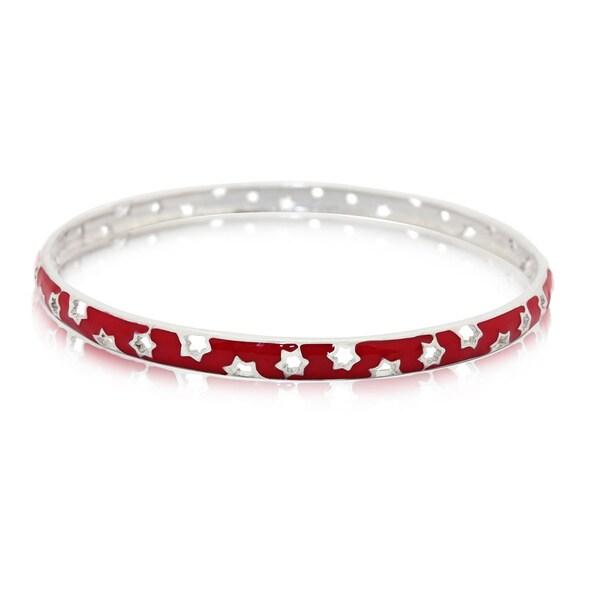 Gioelli Sterling Silver Enamel Stars Bangle Bracelet