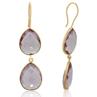 Gioelli Yellow Goldplated Sterling Silver Pink Hydro Quartz Faceted Double Teardrop Dangle Earrings