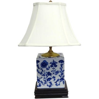 Blue and White Floral Porcelain Table Lamp