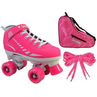 Epic Pink Galaxy Elite Quad Roller Skate 3-piece Bundle