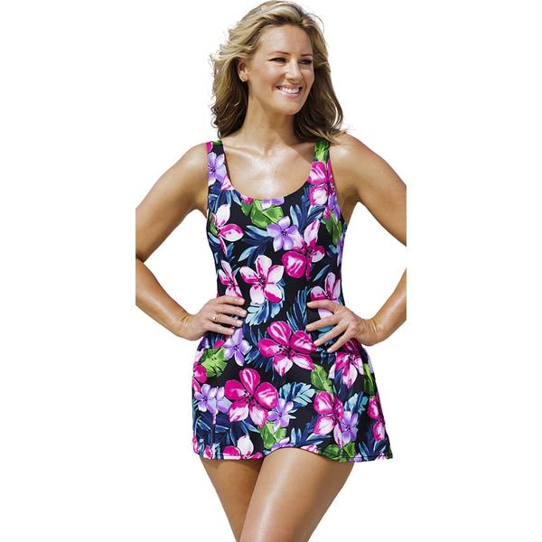 Beach Belle Women's Pink Paradise Princess Seam Swimdress