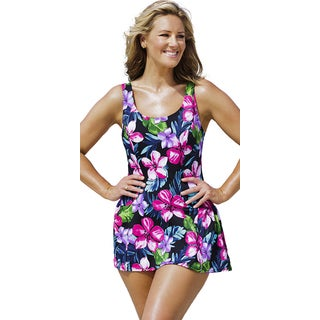 Beach Belle Women's Pink Paradise Princess Seam Swimdress