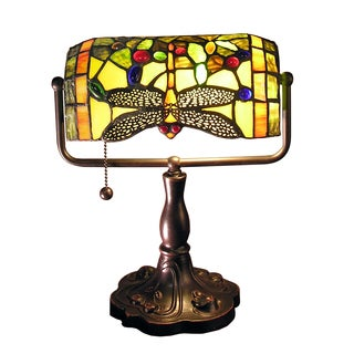 Warehouse of Tiffany Stella 12-inch Green Dragonfly Accent Lamp